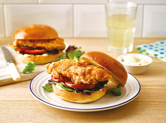 Crispy Chicken Burgers with Lemon Pepper Mayo