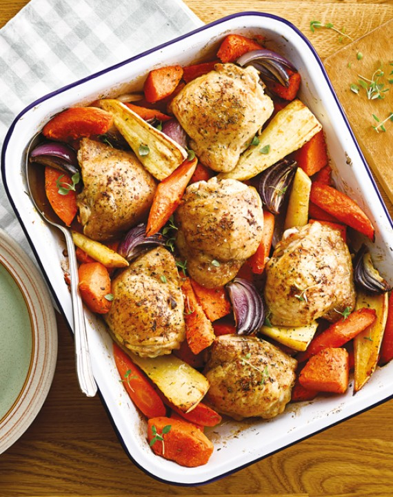 Roasted Winter Vegetable and Chicken Traybake