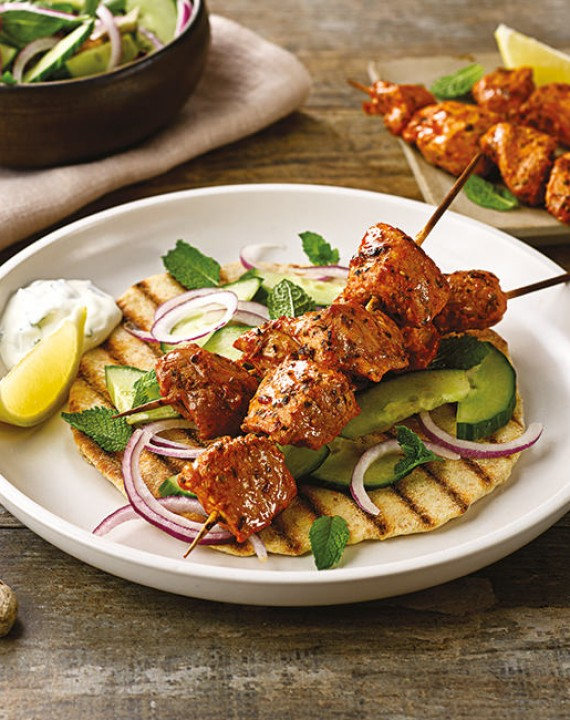 Smoky Pork Kebabs with Flatbreads